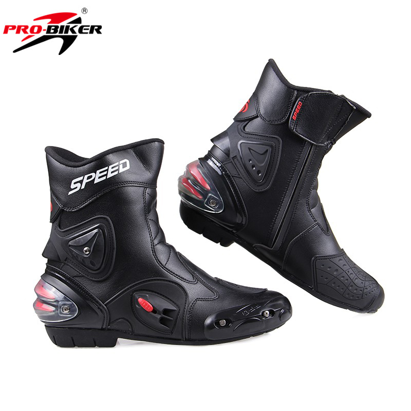 Men Motorcycle Racing Boots Leather Motorcycle Riding Shoes Motorbike Motocross Off Road Moto Boots SPEED BIKERS