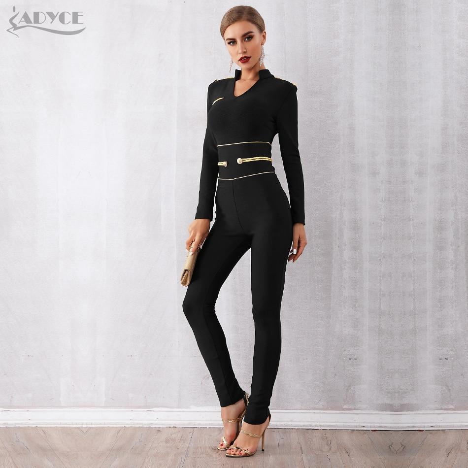 ADYCE New Spring Runway Bandage   Jumpsuit   for Women 2019 Rompers Elegant V Neck Long Sleeve Black Club   Jumpsuit   Rompers Vestidos
