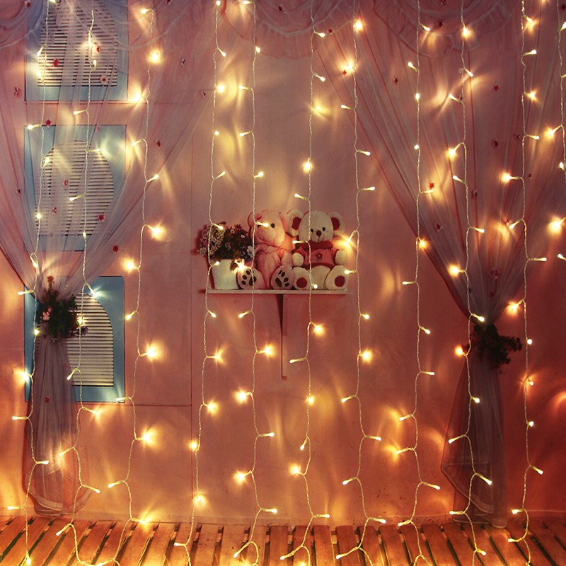 Curtain String Light LED Fairy Icicle Lights Strip Indoor Festival Birthday Wedding Party Garden Decoration String Light