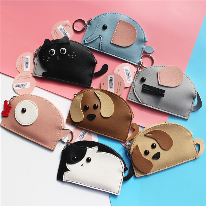 PACGOTH Kwaii Cartoon Printing Animal Prints PU Leather Coin Purses Cute Dog Cats Pattern Creative Zipper Cash Money Bags 1 PC