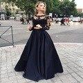 Tendencia de la moda 2017 de dos piezas prom dress negro manga larga de satén de cuello alto prom vestidos del regreso al hogar barato