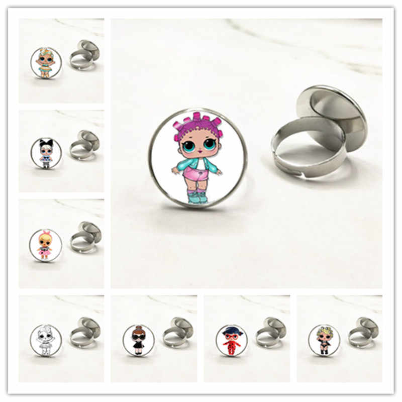 Cartoon LOL Dolls Rings Cute Baby Glitter Princess Dress Dolls Glass Dome Ring Anime For Kid's Birthday Gift