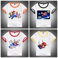 2016 NEW Super Mario Boy and Girl's Clothing,100% Cotton Short Sleeved Children T shirts, Cute Cartoon Casual Active Tops&Tees