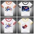 2016 NEW Super Mario Menino e da Menina Roupas, 100% Algodão de Manga Curta Crianças camisas de T, bonito Dos Desenhos Animados Casual Atividade Tops & T