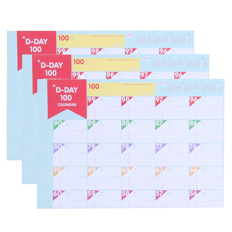 3 Sheets Plan Paper 100 Days Countdown Schedule Wall Calendars Daily Weekly Months Planner Goals Organizer For Work/Study/Lose
