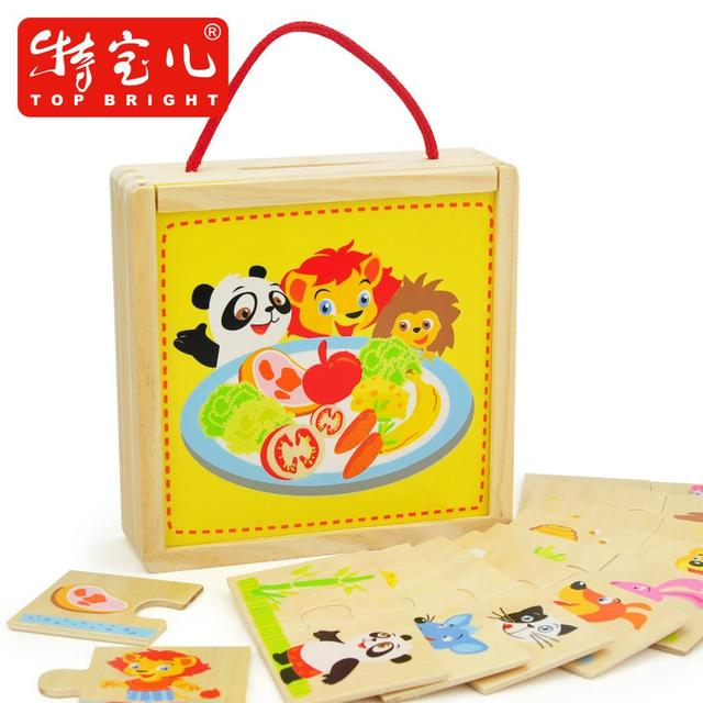 Kid's Soft Montessori Animal and Food Macth Puzzle Set Brand Top Bright Early Educatinal gift for kids and baby