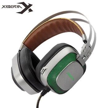 XIBERIA K10 Игровые наушники стерео шлем USB 7,1 Surround Sound Игры гарнитура с микрофоном светодио дный свет для компьютера PC Gamer