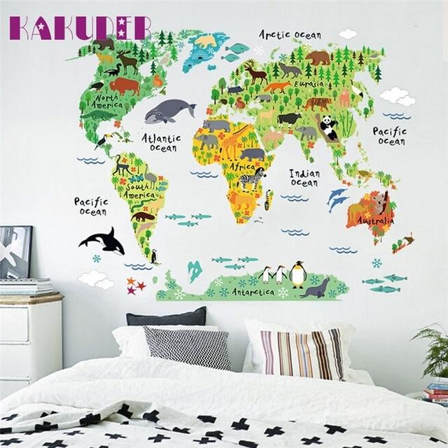 Kakuder animal colorido mapa del mundo pegatinas de pared para nios kakuder animal colorido mapa del mundo pegatinas de pared para nios habitaciones sala decoracin pvc arte gumiabroncs Images