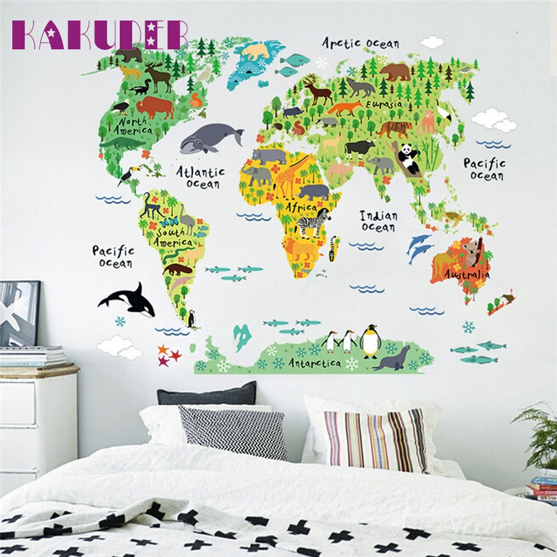 KAKUDER colorful animal world map wall stickers for kids rooms living room home decorations pvc decal mural art diy art poster