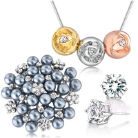 Wedding Jewelry Sets 1 Pendant Necklace 1 Grey Pearls Brooches and 1 Pair Crystal Stud Earrings N807