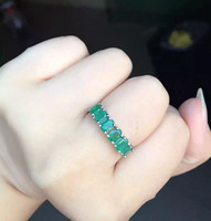 Natural green emerald Ring Natural gemstone ring 925 sterling silver trendy Elegant Slender arrangement women party gift Jewelry