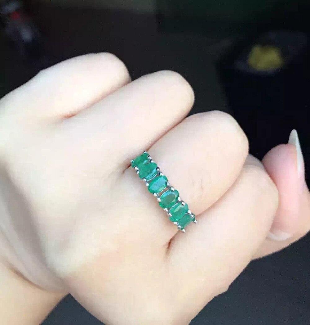 Naturel vert émeraude Anneau pierre Naturelle anneau 925 en argent sterling à la mode Élégant Mince arrangement femmes parti cadeau Bijoux