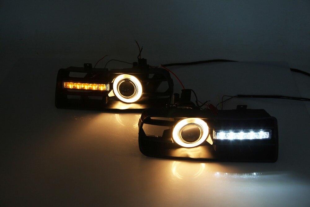 Qirun светодио дный DRL дневного света + CCFL Ангел глаз (6 видов цветов) + сигнал поворота + объектив проектора туман для VW Гольф 4 MK4 1998 2005