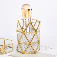 Luxury Nordic Style Pen Holder Brass Geometric Desk Multi function Desk Storage Box Accessory Organizer