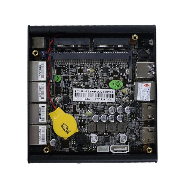 Minisys Новый NUC Мини ПК Celeron J3160 4 ядра 4 Intel i210AT Nic X86 компьютер Мягкий маршрутизатор Linux сервер Поддержка Pfsense AES-NI 4