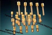 American Pendant Lights Loft Stlye Holder E27 Lampshade Iron Golden Pendant Lamp Dinning Room Kitchen Retro Lamparas Colgantes
