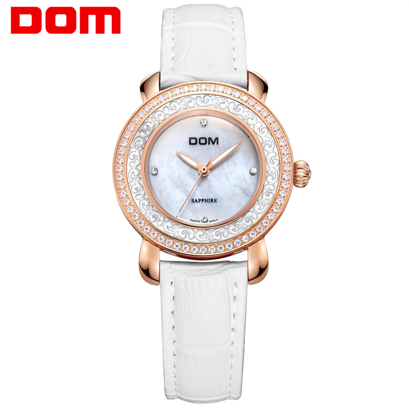 Women's watches DOM Brand Luxury Casual Leather Quartz watch Golden clock sapphire crystal waterproof Relogio Faminino G-86GL-7M watch women dom top luxury brand waterproof style sapphire crystal clock quartz watches leather casual relogio faminino g 86l 1m