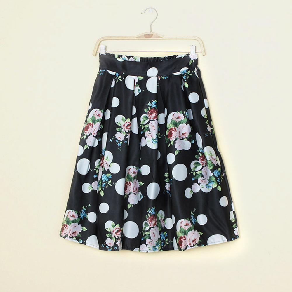 women skirts 2017 Summer Women Vintage Floral Print High Waist Skirt Ladies Ball Gown Tutu Femininas saias na altura do joelho