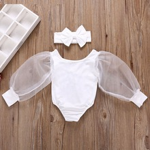Newborn Infant Summer Clothes Fashion Lovely Long Sleeev Bodysuit+Headband 2Pcs