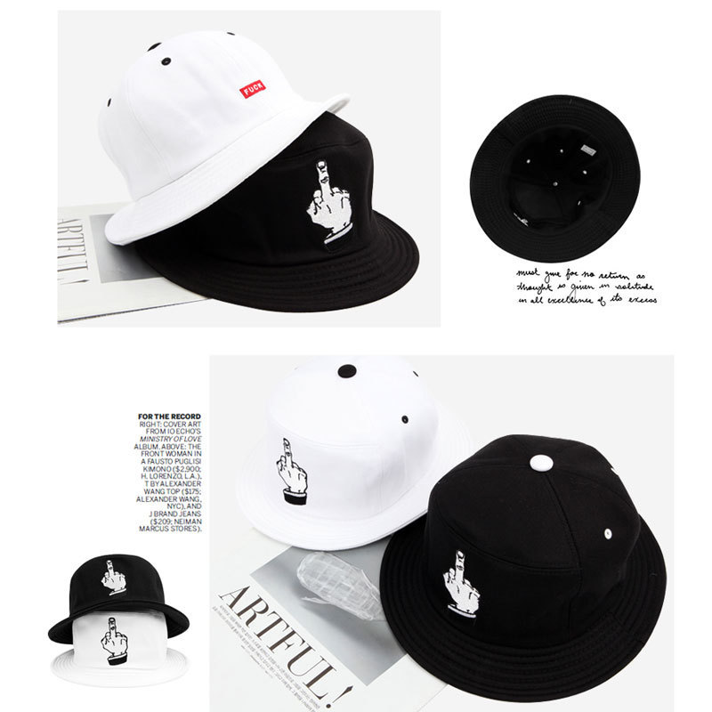 046d5f36382 Bob Chapeau Hip Hop Black White Men Fuck Finger Print Fishing Caps Bucket  Hat 666 Style Sun Hat-in Bucket Hats from Apparel Accessories on  Aliexpress.com ...