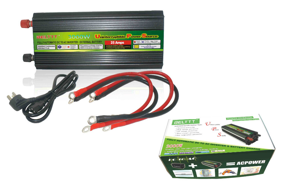 solar panel <font><b>inverter</b></font> <font><b>3000w</b></font> solar <font><b>inverter</b></font> dc <font><b>12v</b></font> to ac <font><b>230v</b></font> modified sine wave ups battery charger LED display for home use image