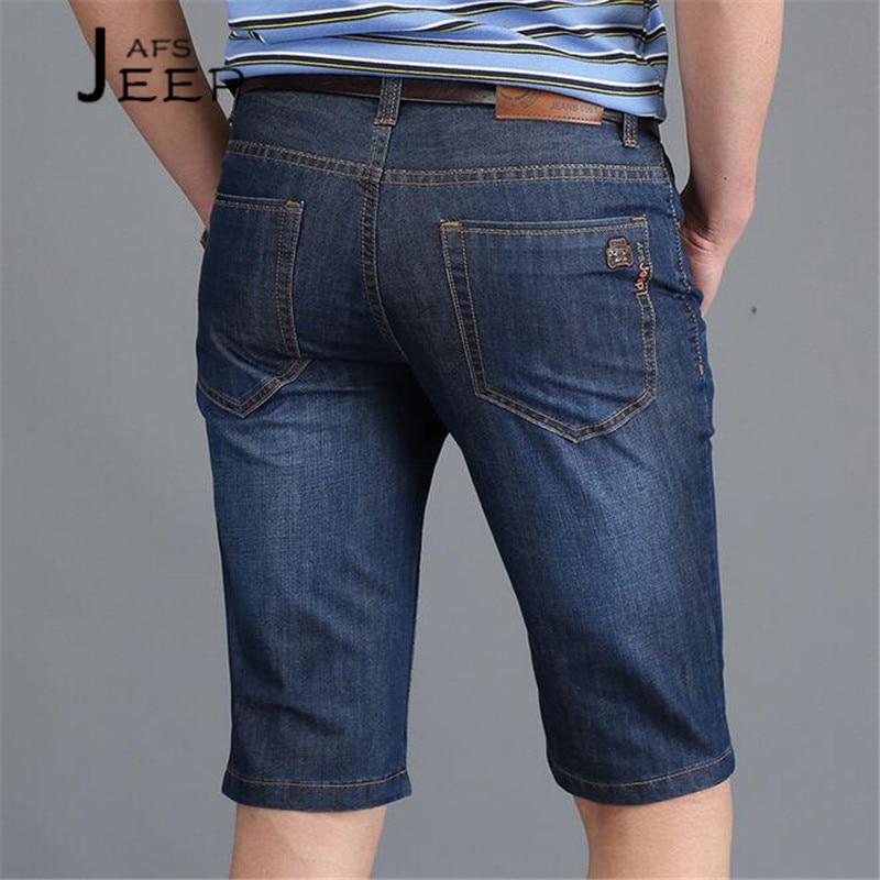 JI PU Summer 2017 cowboy style short bottoms for man,front drape style fashion male straight light cotton breathe short jeans