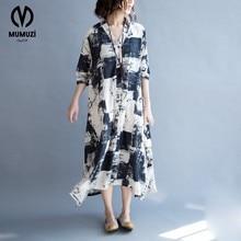 Women Cotton and Linen Dress Big Size Floral Pattern Print Summer Fashion Casual Female Tops Long Vintage 2017 Dresses