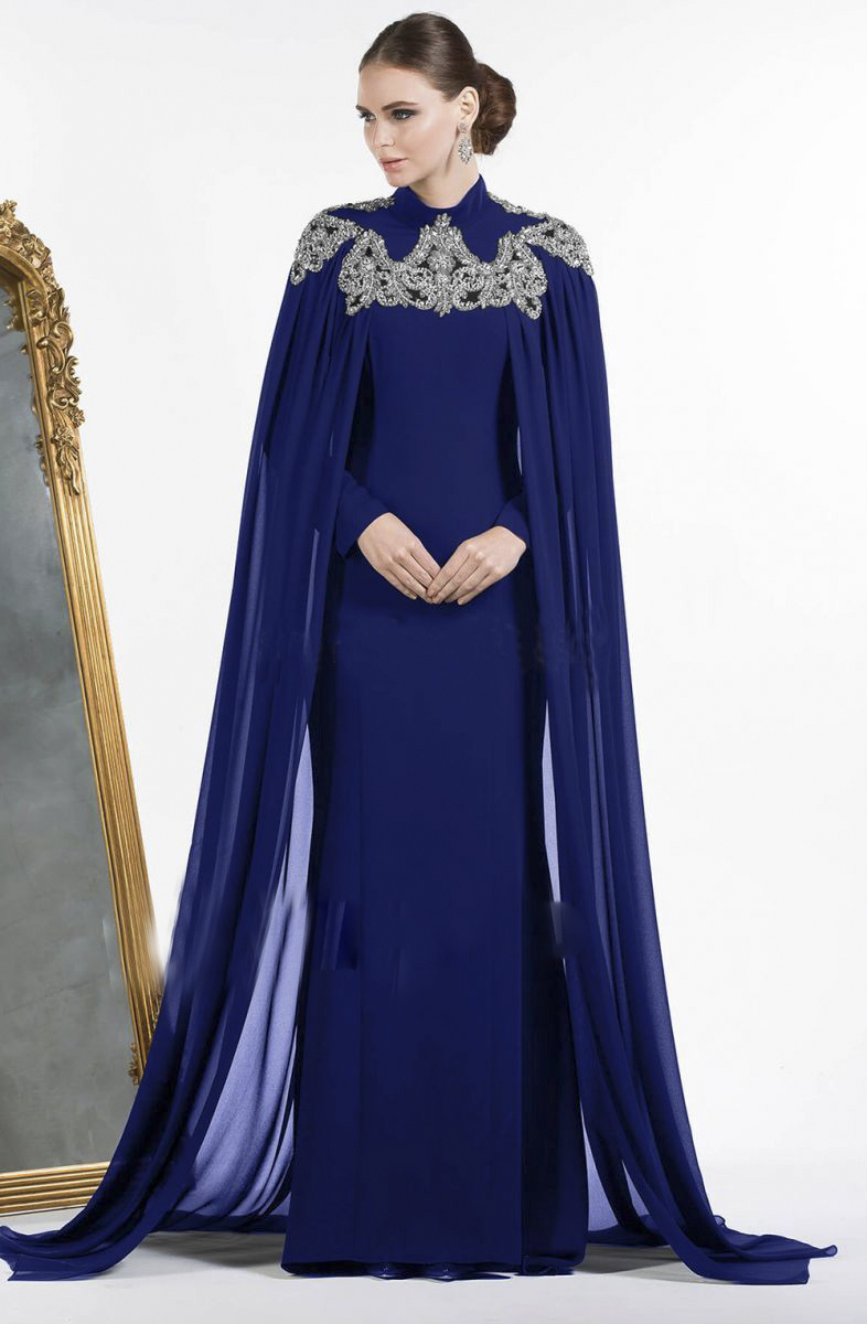 Weddings & Events Earnest Robe De Soiree Royal Blue High Neck Long Evening Gowns With Cape Shawl Chiffon Beaded Evening Dress Abiye Kaftan Formal Dress Punctual Timing