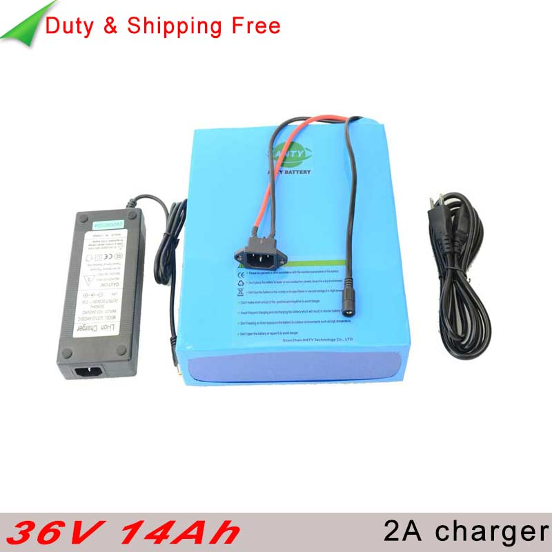 Battery Pack 36v 14ah 500w with 2A Charger 30A BMS for Electric Bicycle 36v Lithium Scooter Battery 36v Free shipping & Duty free customs taxes factory diy 36 volt battery pack with charger and 20a bms for 36v 10ah lithium battery