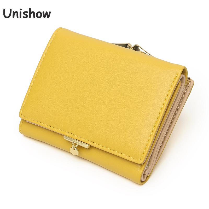 Unishow Small Lock Women Wallet 2020 Brand Designer Women Purse Trifold Pu Leather Laides Wallet Coin Purse Girl Card Holders