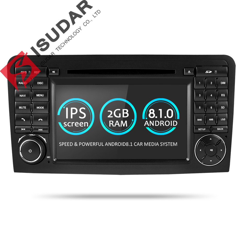 Isudar Two Din Car Multimedia player GPS Android 8.1 DVD Player For Mercedes/Benz/ML/GL CLASS W164 ML350 ML500 GL320 Radio FM цена