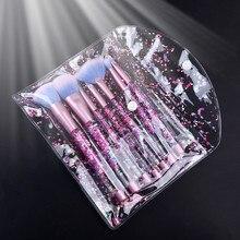 7 piezas brillo maquillaje pinceles de cristal corrector cepillo de sombra de ojos labios líquido en polvo Pincels Maquiagem kits