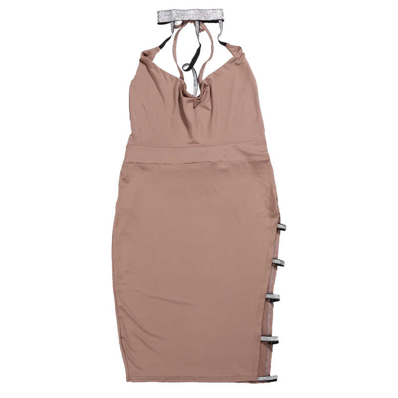 Sexy femmes Bandage Chooker moulante col en V sans manches évider soirée Club courte Mini robe crayon