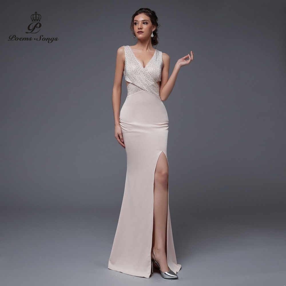 Gedichten Nummers 2020 Dubbele-V Sexy Elegant Avond Slit Side Open Mermaid Prom Party Dress Vestido De Festa Vintage robe Longue