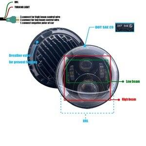 "Image 5 - 7""LED Headlight White Halo Car Angel Eyes DRL LED Projection Lens For Jeep JK LJ Tj Fj Cruiser Hummer MACK R Peterbilt Kenworth"