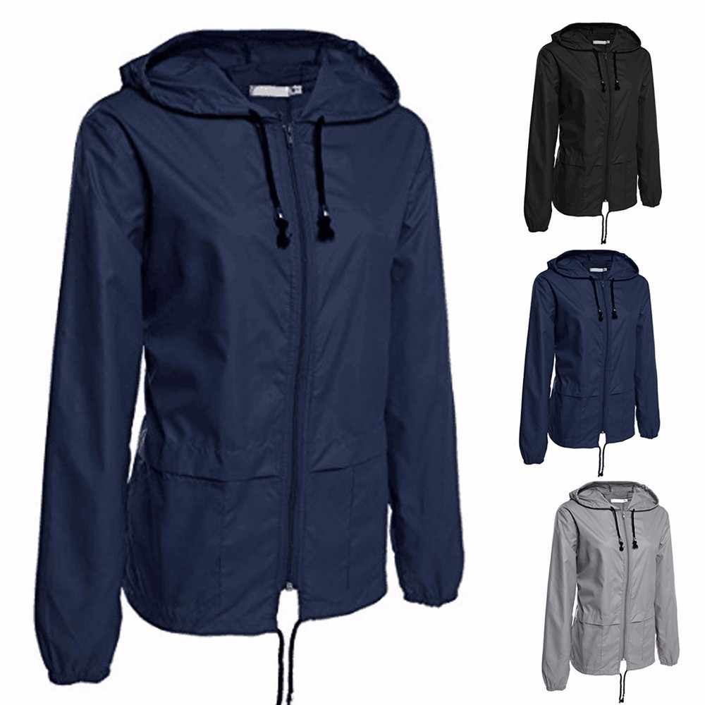 Telotuny women clothing Outdoor Lightweight Rain jacket women autumn jacket women long Waterproof Hooded jeckets JL 18