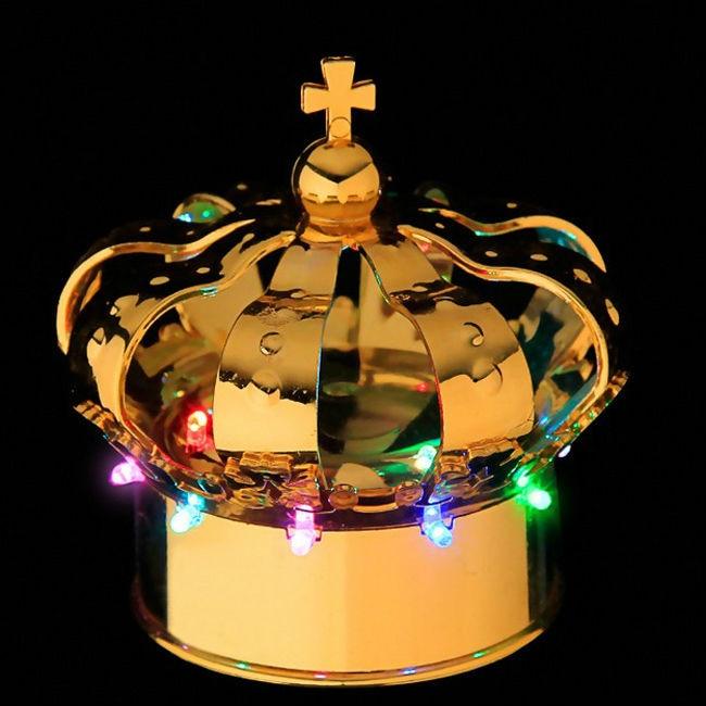 Natklub champagne flaske led lys krone flaske kasketter guldfarve 1 stk
