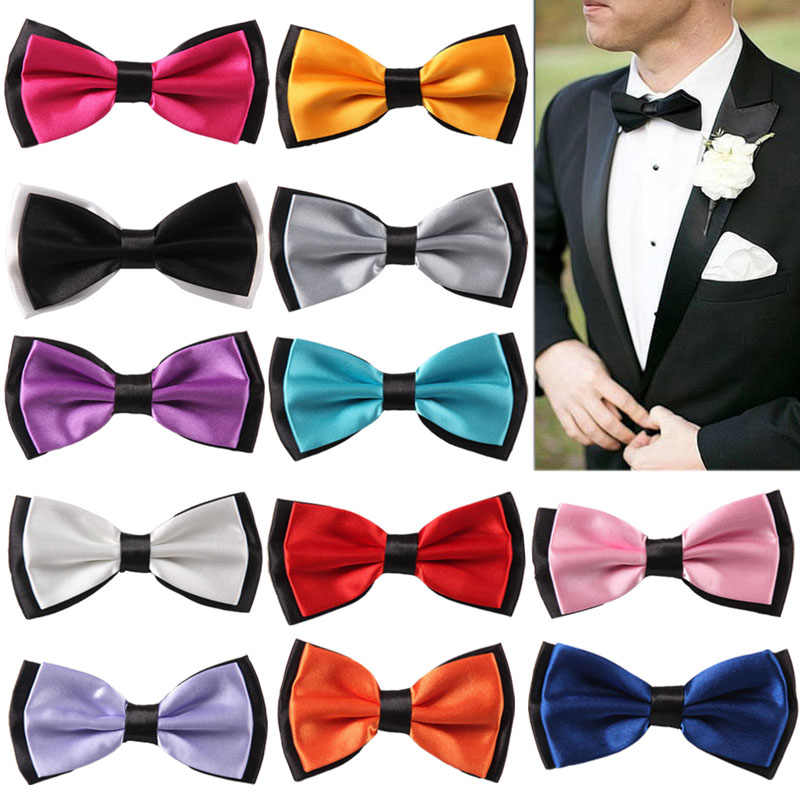 Adult Bowtie Classic Man Fashion Wedding Party Formal Satin gift Silk Multicolor Adjust Neck Bow tie style New Clip-On
