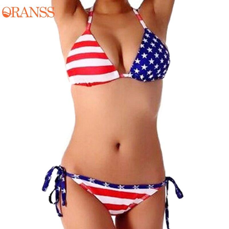 Women Bikni Set New Design Star And Stripe American Flag Sexy Swimwear Low Waist Halter Straps Adjust Swimsuit Beach Biquinis