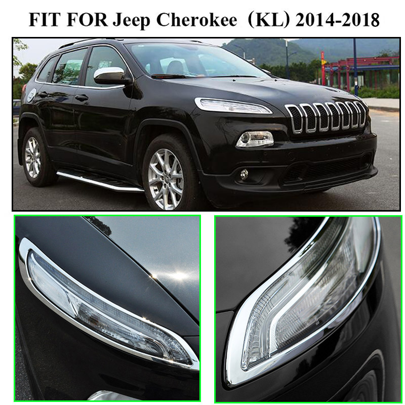 Headlight front light lamp cover trim Fit for Jeep Cherokee 2014 2015 2016 2017