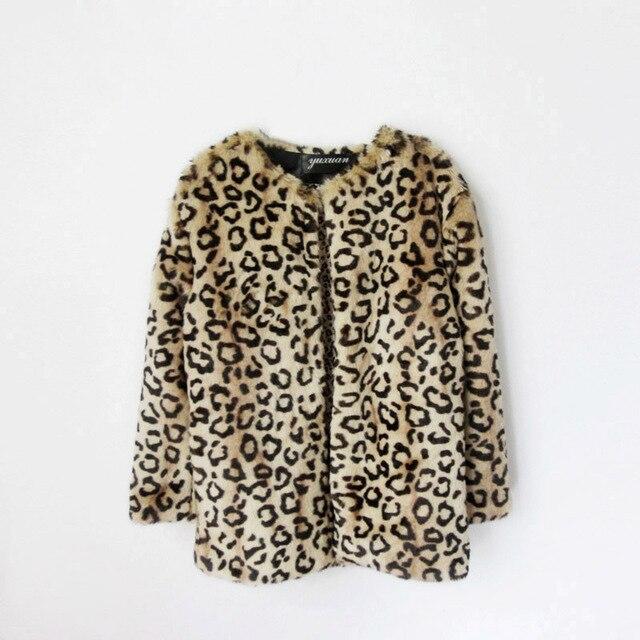 0381bf0b8 Furry Teenage winter coats Children Leopard faux fur coat Jacket ...