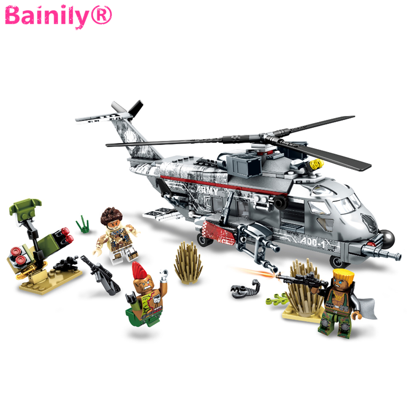 [Bainily] 340pcs Airplane Military Special Forces War Weapon Building Blocks Set Army Soldiers Figures Bricks Toys for Children fun geometry rhombus tangrams logic puzzles wooden toys for children training brain iq games kids gifts
