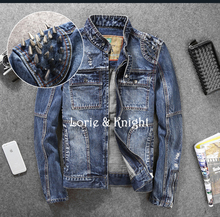 Spring & Autumn Rivet Hole Outfit Mens Slim Fit Demin Studded Jeans Punk Jacket BLUE