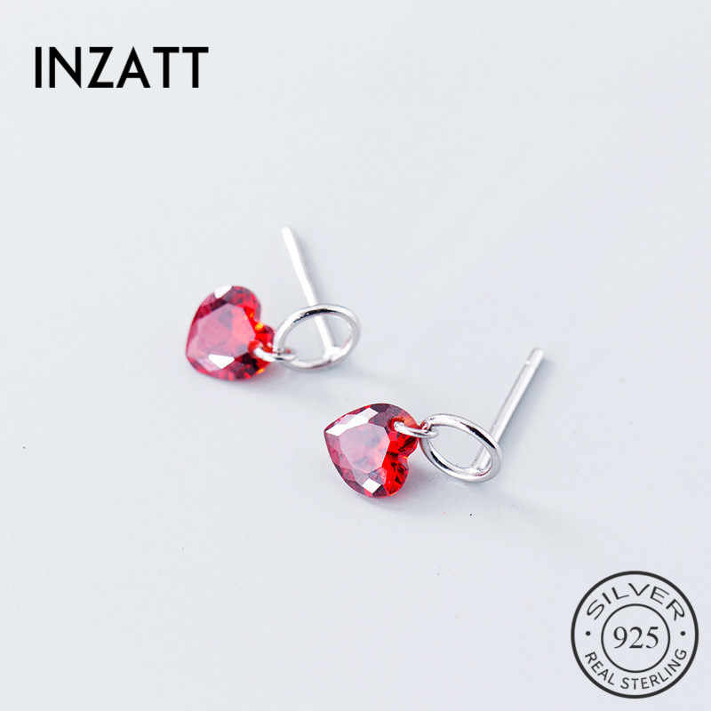 Inzatt Murni 925 Sterling Silver Romantis Drop Anting-Anting Merah Kristal Hati Hollow Round Aksesoris Fashion Wanita Anting-Anting 2018