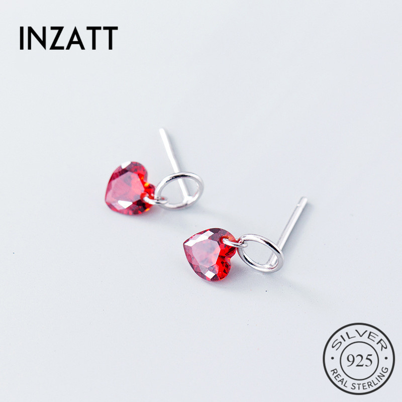 INZATT Pure 925 Sterling Silver Romantic Drop Earrings Red Crystal Heart Hollow Round Accessories Fashion Woman Earrings 2018