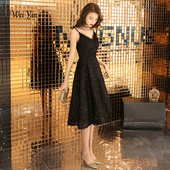weiyin Robe De Soiree 2020 New The Banquet Sexy V-neck Black Lace A-line Sleeveless Tea-length Party Formal Evening Dress WY1382