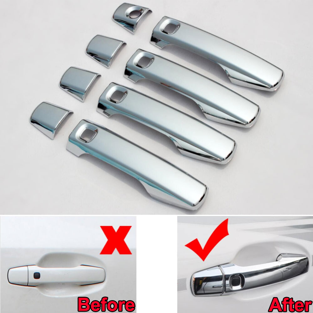 For Toyota Land Cruiser LC200 2008-2014 8pcs ABS Car Exterior Side Door Handle Cover Trim With 5 Hole Car Styling Accessories