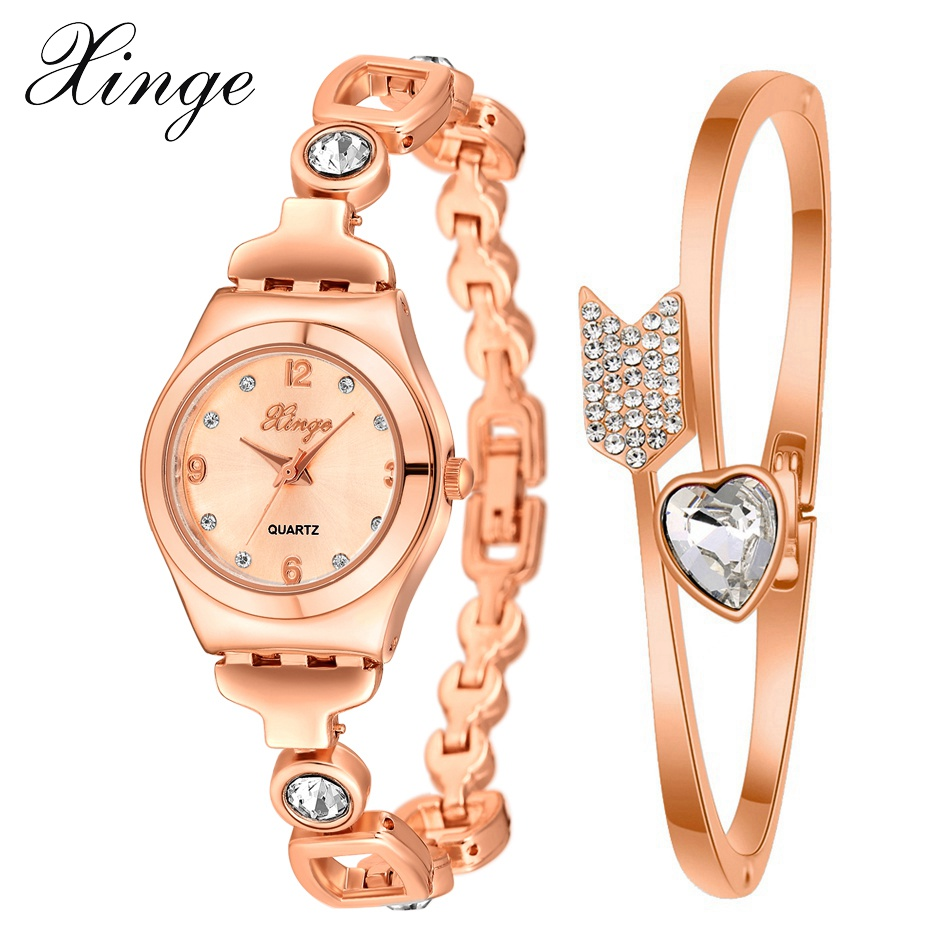 2017 XINGE New Brand Women Luxury Stainless Steel Rose Dial Quartz Watches Set Fashion Ladies Bracelet