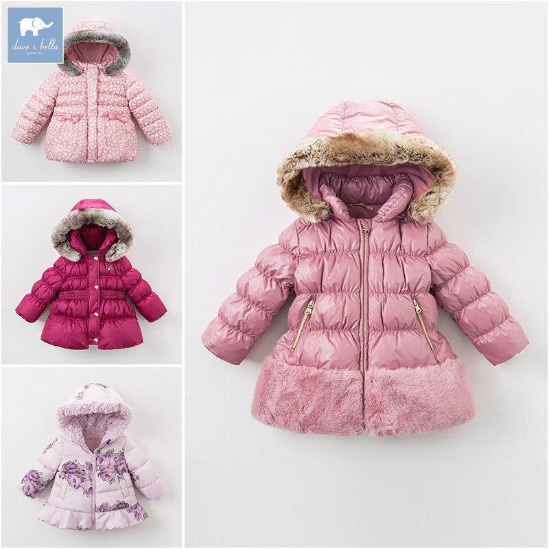 DB6100 dave bella Dégagement hiver bébé filles doudoune enfants blanc duvet de canard rembourrage manteau enfants bébé à capuche survêtement