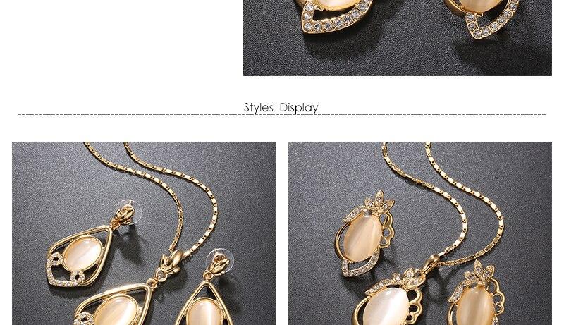 Opal Women Wedding Jewelry Set Bohemian Big African Jewelry Sets Dubai Gold Color Fashion Flower Necklace Earrings Set (3)